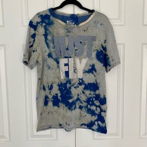"""Custom Reverse Bleach """" Just Fly """" The Nike Dri-Fit Tee T-shirt Size Large"""